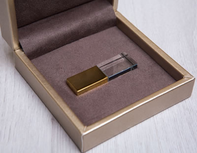 Premium Gold thumb drive presentation box with Photographer's Branding