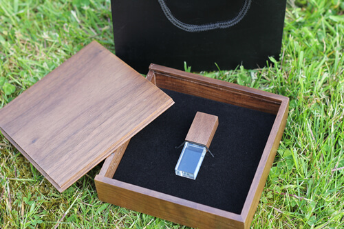 Premium Walnut Box Shown With Crystal And Plain Black Bag Wooden USB Colors