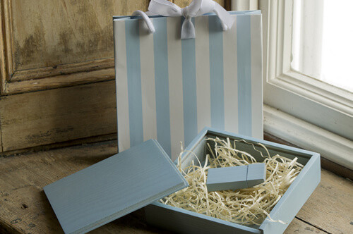 Blue Premium Wooden USB With Striped Bag